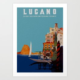 Vintage Lugano Switzerland Travel Art Print