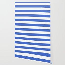 Han blue -  solid color - white stripes pattern Wallpaper