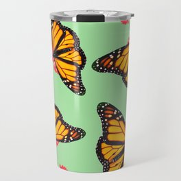 Orange Monarch Butterfly Pattern Travel Mug