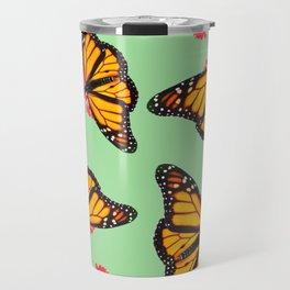 Orange Monarch Butterfly Pattern Travel Mug