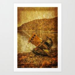 Wreck on Scottish Highland Beach at Diabaig Art Print
