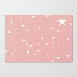 Pink star with fabric texture - narwhal collection Canvas Print