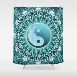 Tranquility Yin Yang Blue Aqua Mandala Shower Curtain