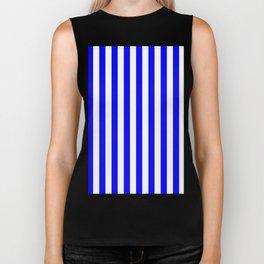 Narrow Vertical Stripes - White and Blue Biker Tank