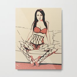 Erotic nude, sexy posing in fishnets lingerie, red bra and tempting black panties, hot brunette Metal Print