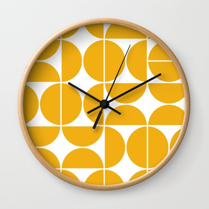 Mid Century Modern Geometric 04 Yellow Wall Clock