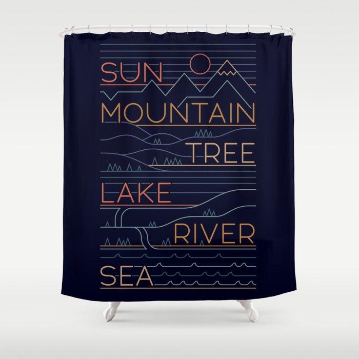 Sun, Mountain, Tree Shower Curtain