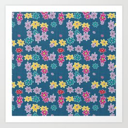 Whimsical Floral Pattern in Blue, Purple, Yellow, Pink Art Print