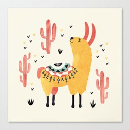 Yellow Llama Red Cacti Canvas Print