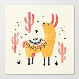 Yellow Llama Red Cacti Canvas Print