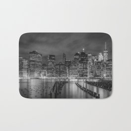 NEW YORK CITY Monochrome Night Impressions | Panoramic Bath Mat