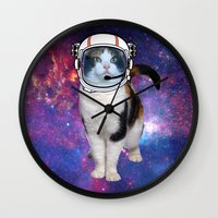 space cat Wall Clocks featuring Space cat by S.Levis