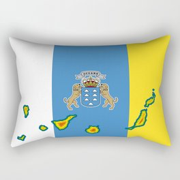 Canary Islands Flag with Map of the Canary Islands Islas Canarias Rectangular Pillow