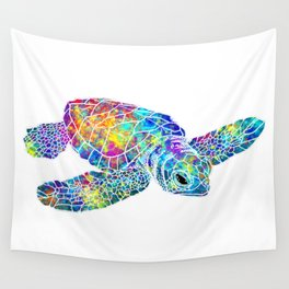 Colorful Sea Turtle Watercolor Art Wall Tapestry