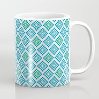 8 bit Mugs featuring 8-bit by Cyan Rose