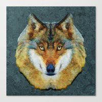 polygon Canvas Prints featuring polygon wolf by Ancello