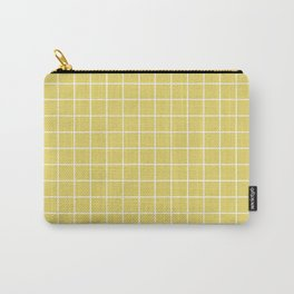 Hansa yellow - beije color - White Lines Grid Pattern Carry-All Pouch