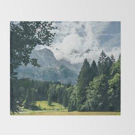 Zugspitze Mountain In Summer Clouds Throw Blanket