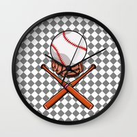 baseball Wall Clocks featuring Baseball by mailboxdisco
