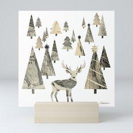 Winter Woods, collage Mini Art Print