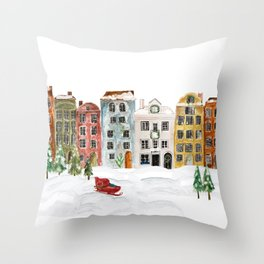 Christmas in the Village Throw Pillow