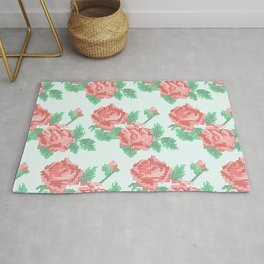Cute Cross Stitch Roses on Blue Background Rug