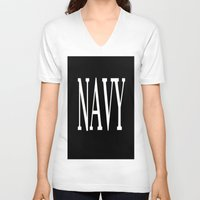 navy V-neck T-shirts featuring NAVY by shannon's art space