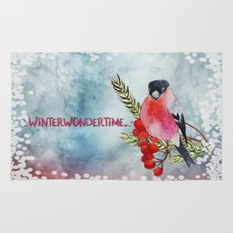 Winter Wondertime - Merry christmas- Little finch on branch-covered with snow Rug