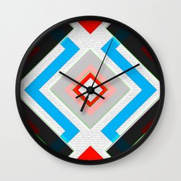 Black Blue Red Pink and White Small Diamond Textured Minimal Simple Pattern Home Goods Wall Clock