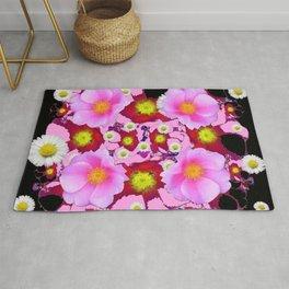 Black Design & Pink Roses Shasta Daisies Art Abstract Rug
