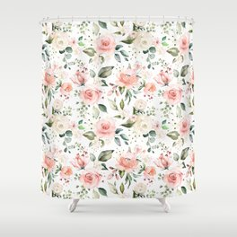 Sunny Floral Pastel Pink Watercolor Flower Pattern Shower Curtain