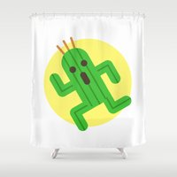 final fantasy Shower Curtains featuring Final Fantasy - Cactuar by Versiris