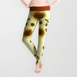 Yellow Sunflowers and Honey Bees Summer Pattern Leggings