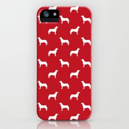Husky dog pattern simple minimal basic dog silhouette huskies dog breed red and white iPhone Case