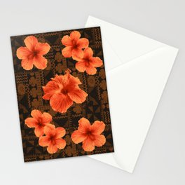 Kalalau Tapa Hawaiian Hibiscus Vintage Inspired Print Stationery Cards