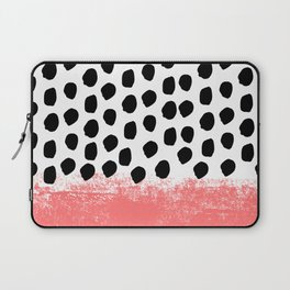 Lola - painted dot minimal coral black and white trendy abstract home decor Laptop Sleeve
