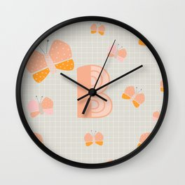 Letter B - Butterfly - Monogram Wall Clock