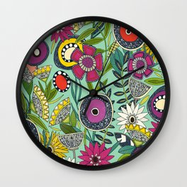 joie floral mint Wall Clock