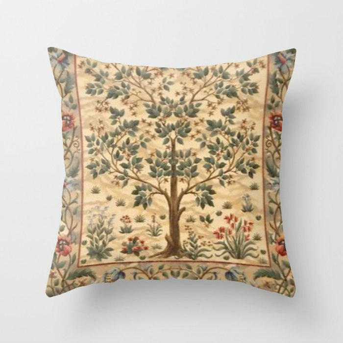 William Morris Tree Of Life Throw Pillow By Vintageart