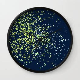 Glittery, Scattered Greens on Navy Wall Clock