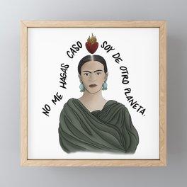 Frida from Another Planet - White Framed Mini Art Print