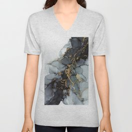 Stormy Black Gold Marble | Abstract Ink Unisex V-Neck