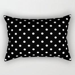 Licorice Black with White Polka Dots Rectangular Pillow