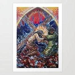 Jesus and Simon of Cyrene Art Print