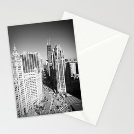 Looking down Michigan Avenue Buildings Original Black and White Photograph Home Decor Gift Icon Stationery Cards