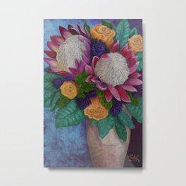 Fantasy Queen Proteas and Orange Roses Metal Print