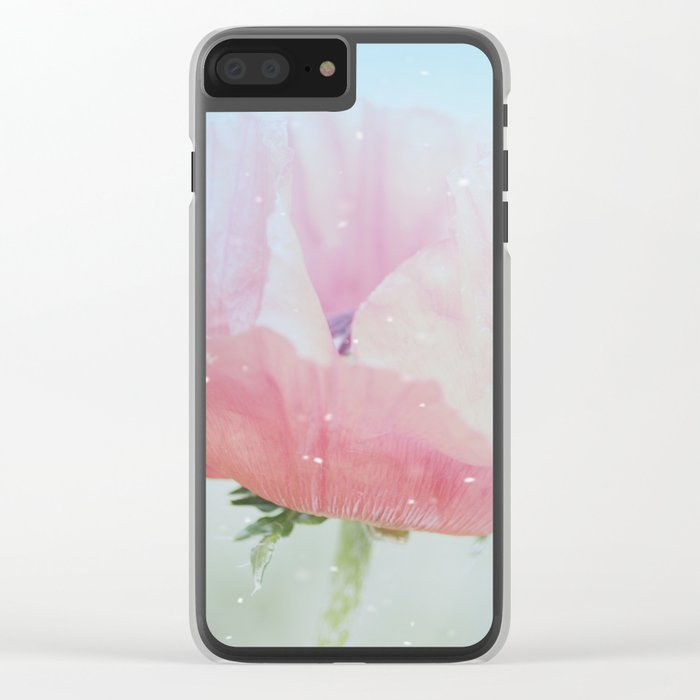 Snowflakes Poppies Clear iPhone Case