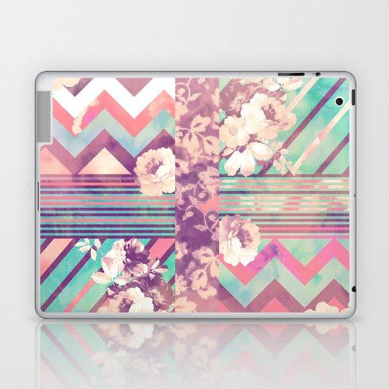 Retro Pink Turquoise Floral Stripe Chevron Pattern Laptop & iPad Skin