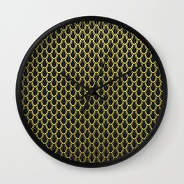 Chain Link Gleaming Golden Metal Pattern Wall Clock