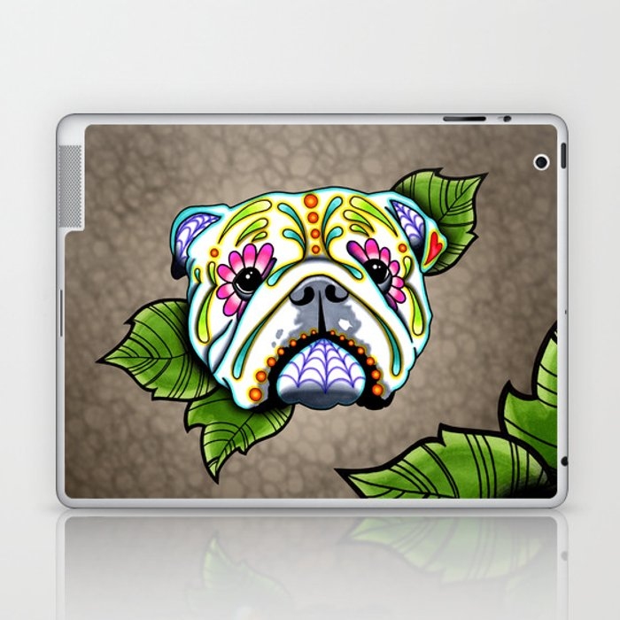 English Bulldog - Day of the Dead Sugar Skull Dog Laptop & iPad Skin